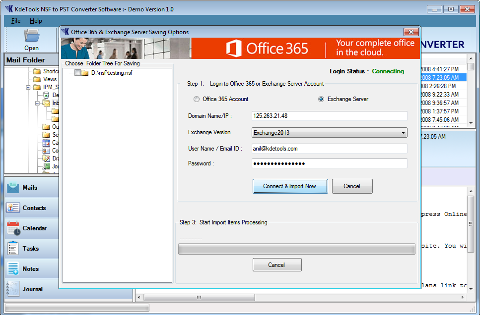 Import NSF to Live Exchange Server Account
