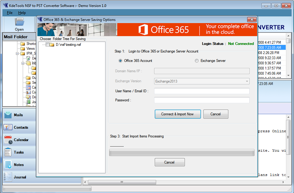 NSF to Office 365 Option