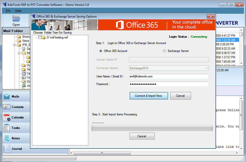 Import NSF to Office 365 Account